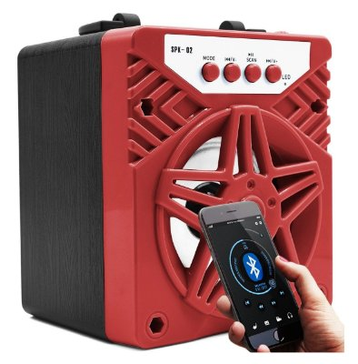 CAIXA DE SOM PORTÁTIL 5W BLUETOOTH MP3 PEN DRIVE SPK-02 VERMELHA