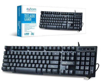TECLADO GAMER SEMI MECÂNICO EXBOM BK-150 USB WINDOWS 10