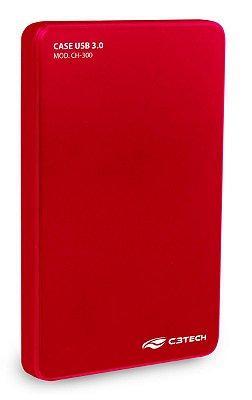 CASE HD SSD SATA 2.5 USB 3.0 C3TECH CH-300RD VERMELHO