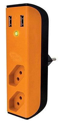CARREGADOR 2 PORTAS USB C/ FILTRO DE LINHA + 2 TOMADAS ENERMAX BEM LIGADO LARANJA