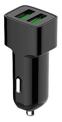 CARREGADOR VEICULAR RÁPIDO 2 USB 2.4A C3TECH UCV-20BK