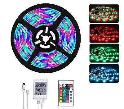 FITA DE LED RGB COM CONTROLE REMOTO 5 METROS 3528 RGB