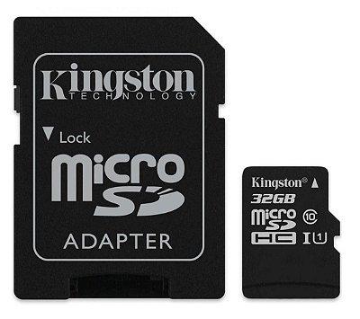 CARTÃO MICRO SD 32GB KINGSTON SDCS/32GB CLASSE 10 ORIGINAL C/ ADAPTADOR