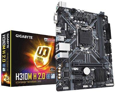 PLACA MÃE INTEL 1151 GIGABYTE H310M H 2.0 REV 1.0 MICRO ATX DDR4 USB 3.1 HDMI