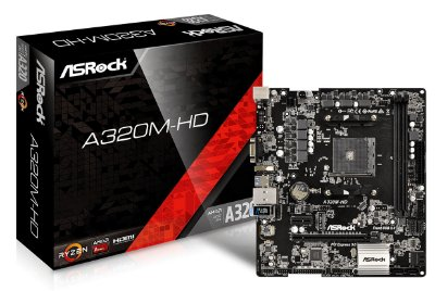 PLACA MÃE ASROCK A320M-HD AMD AM4 DDR4 USB 3.1 HDMI