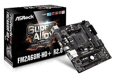 PLACA MÃE FM2 FM2+ ASROCK FM2A68M-HD+ R2.0 DDR3 HDMI USB 3.1 WIN 10