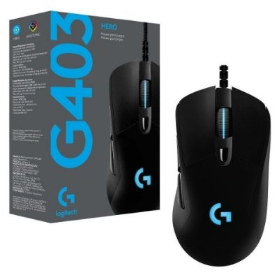 MOUSE GAMER LOGITECH G403 HERO RGB MACRO 12.000 DPI SISTEMA DE PESO