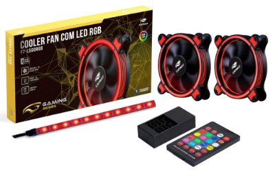 KIT 2 COOLER 12CM LED RGB + FITA DE LED RGB C3TECH F7-L500RGB P/ GABINETE