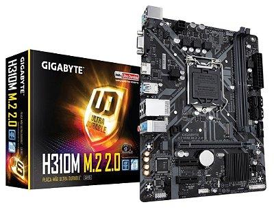 PLACA MÃE 1151 8º E 9º GERAÇÃO GIGABYTE H310M M.2 2.0 DDR4 HDMI USB 3.1