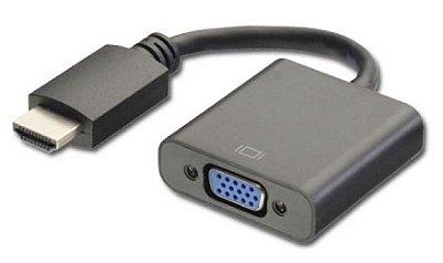 ADAPTADOR HDMI MACHO X VGA FÊMEA SEM ÁUDIO PLUS CABLE ADP-002BK