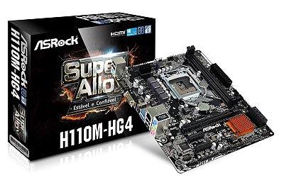 PLACA MÃE INTEL 1151 6º E 7º GERAÇÃO ASROCK H110M-HG4 MICRO ATX DDR4 USB 3.1 HDMI