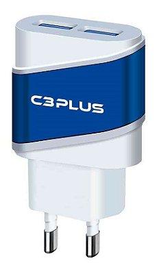 CARREGADOR TURBO USB 2 PORTAS 2A C3PLUS UC-20BWHX