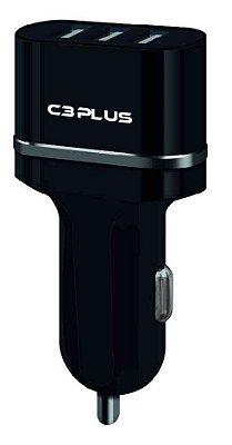 CARREGADOR VEICULAR 3 PORTAS USB 3.1A C3PLUS UCV-30BK