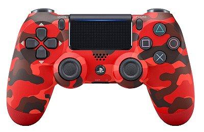 CONTROLE PS4 PLAYSTATION 4 SONY ORIGINAL SEM FIO DUALSHOCK 4 CUH-ZCT2U CAMUFLAGEM VERMELHA