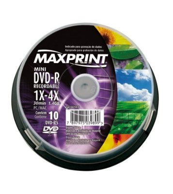MINI DVD-R MAXPRINT 50259-1 1.4GB 30 MIN 1X-4X PC/MAC 10 UNIDADES