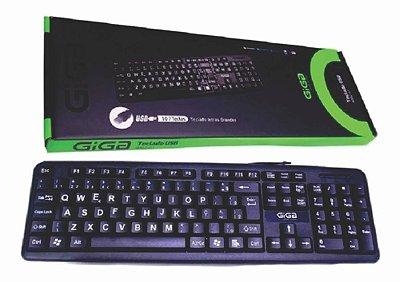 TECLADO USB GIGA 4002-01 107 TECLAS LETRAS GRANDES