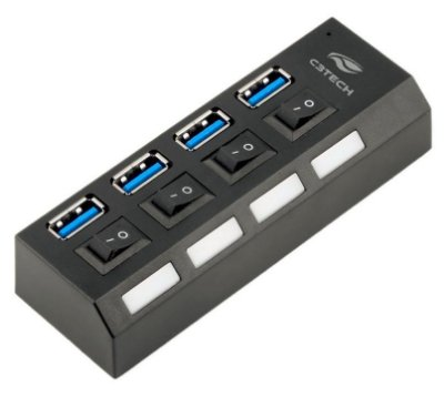 HUB USB 3.0 C3TECH HU-S300BK COM CHAVE SELETORA E 4 PORTAS