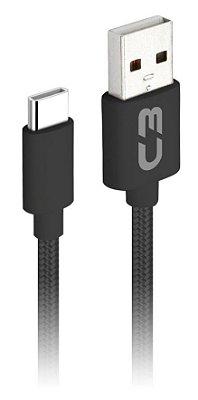 CABO USB CELULAR TIPO C 2A C3PLUS CB-C21BK 2 METROS RECARGA E DADOS