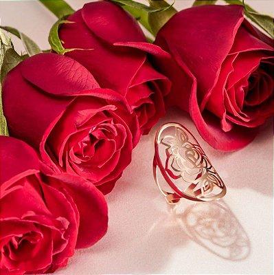Anel ajustável com rosa da coleção Ana Hickmann - Alegria Latina - 512518