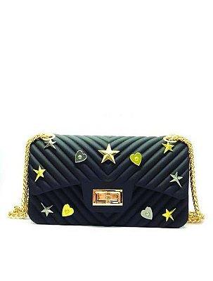 Bolsa modelo Flap em PVC com Pins - Miss by Queens Paris - Preto - MQB18601