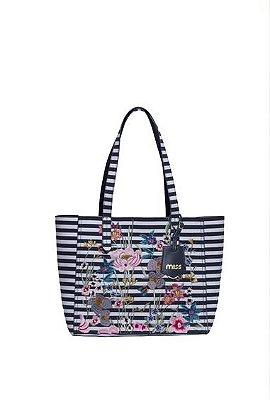 Bolsa de ombro com listras e flores - Miss by Queens Paris - Azul Petróleo - MQB18807