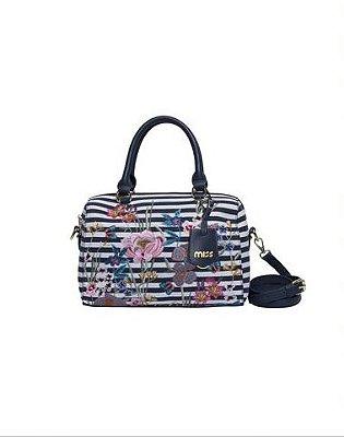 Bolsa de mão com listras e Flores - Miss by Queens Paris - Azul Petróleo - MQB18907