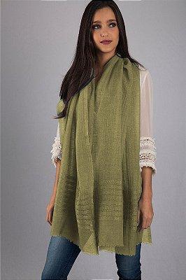 Pashmina 100% Lã da Kashmira Barra Bordada Verde Abacate