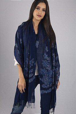 Pashmina 100% Lã da Kashmira Azul Marinho Bordada Bunch Senior