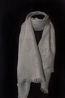 Pashmina Lã da Kashmira com Seda Brocada Cinza Prata