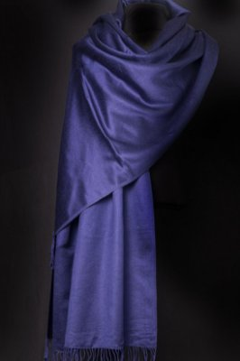 Pashmina Original Acetinada com Seda Azul