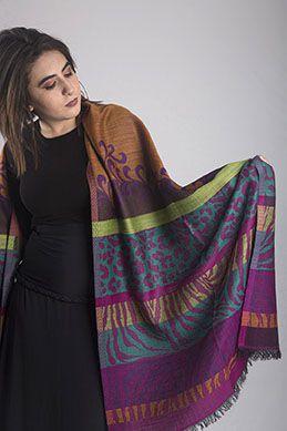 Pashmina Lã da Kashmira com Seda Brocada Colorida