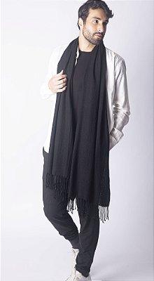 Pashmina Masculina 100% Lã da Kashmira Preta Texturizada