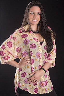 Camisa Georgette Amarela com Flores Pink