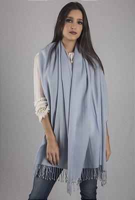 Pashmina 100% Lã da Kashmira Azul Celeste Com Franjas