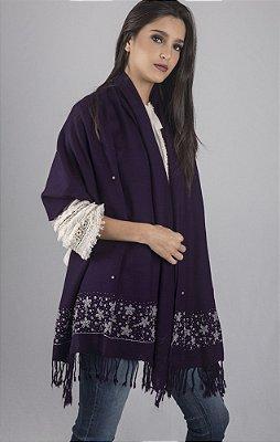 Pashmina 100% Lã da Kashmira Roxa com Bordado em Vidrilhos