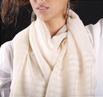 Pashmina 100% Lã da Kashmira Barra Bordada Off White