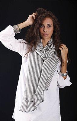 Pashmina Lã da Kashmira com Seda Listras Cinza e Branco