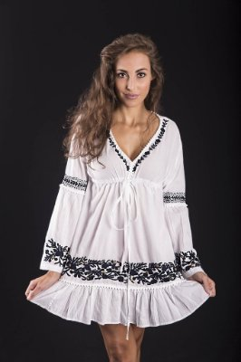 Bata Mini Vestido 100% Algodão Lakshmi Branca e Marinho