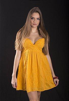 Mini Vestido 100% Algodão Alcinha Bordado Amarelo