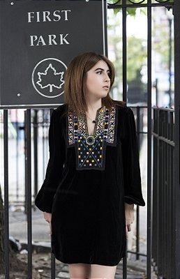 Mini Vestido Veludo Preto