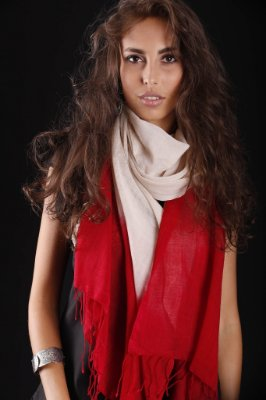 Pashmina 100% Lã da Kashmira Tie Dye Vermelha