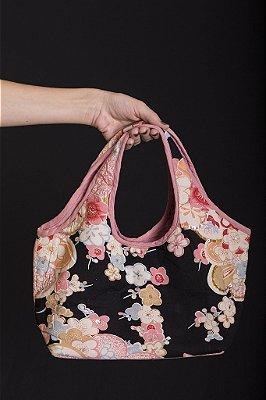 Bolsa 100% Algodão Floral Preta