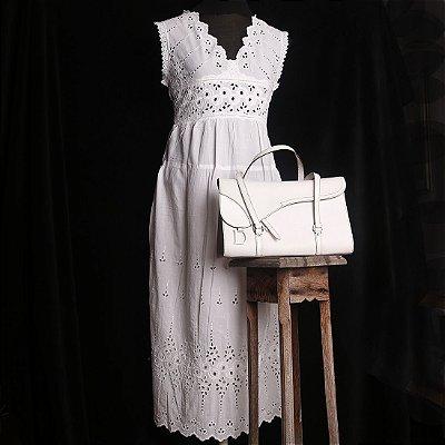 Vestido 100% Algodão Branco Renda Richelieu