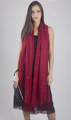 Pashmina 100% Lã da Kashmira Encorpada com Bordado Beads
