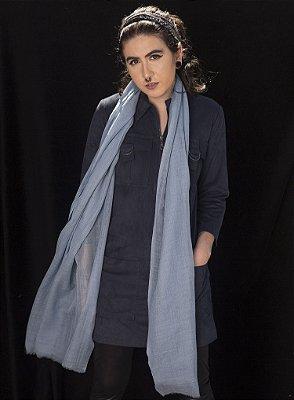 Pashmina 100% Lã da Kashmira Azul Jeans