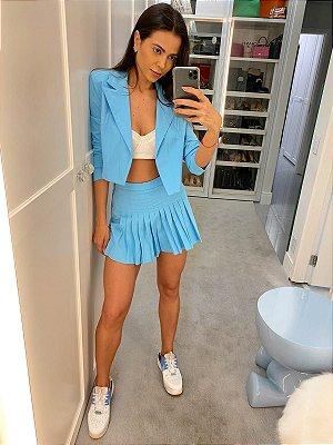 Short saia azul ana -  cloude