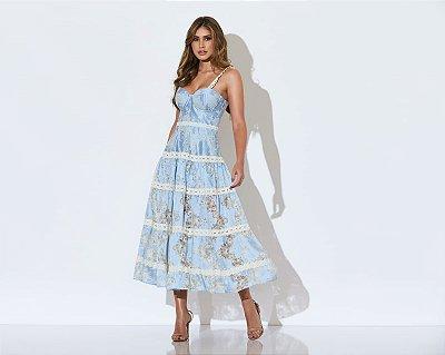 vestido midi azul estampado - cloude
