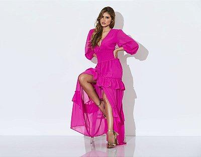 vestido longo pink - cloude