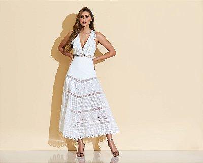 vestido midi off white - cloude