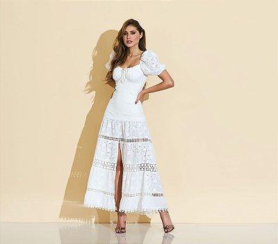 Vestido Midi Off White Janaina - cloude